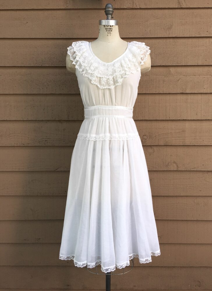1970s Gunne Sax sheer white cotton dress with lace trim