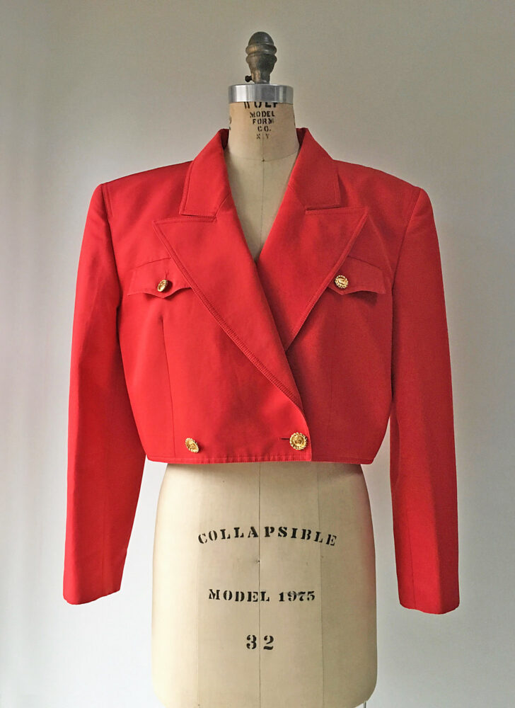 1980s 90s Gucci gold button red silk cotton faille cropped jacket