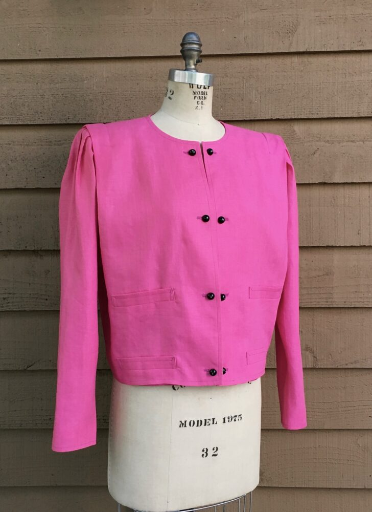 1980s 90s Ungaro Solo Donna pink linen cropped jacket