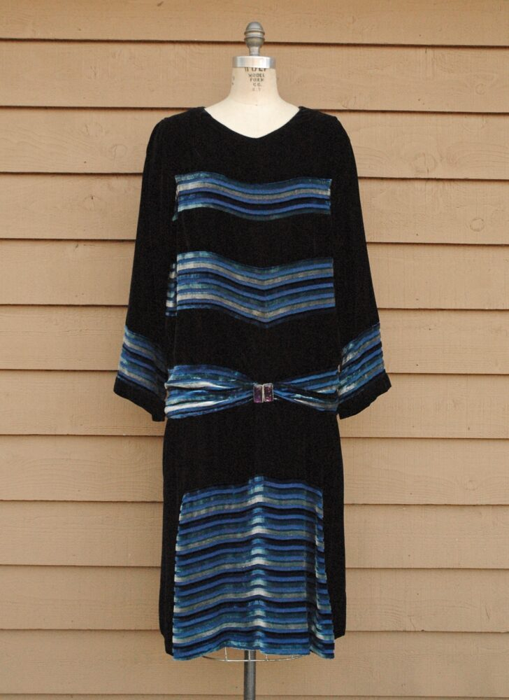 1920s black + blue burnout velvet stripe and silk chiffon dress Manahan