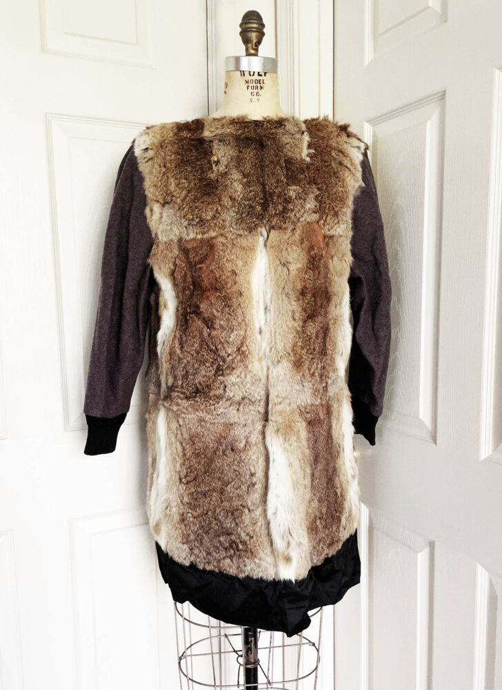 1940s 50s black wool mohair swing coat Hecht raccoon fur lining
