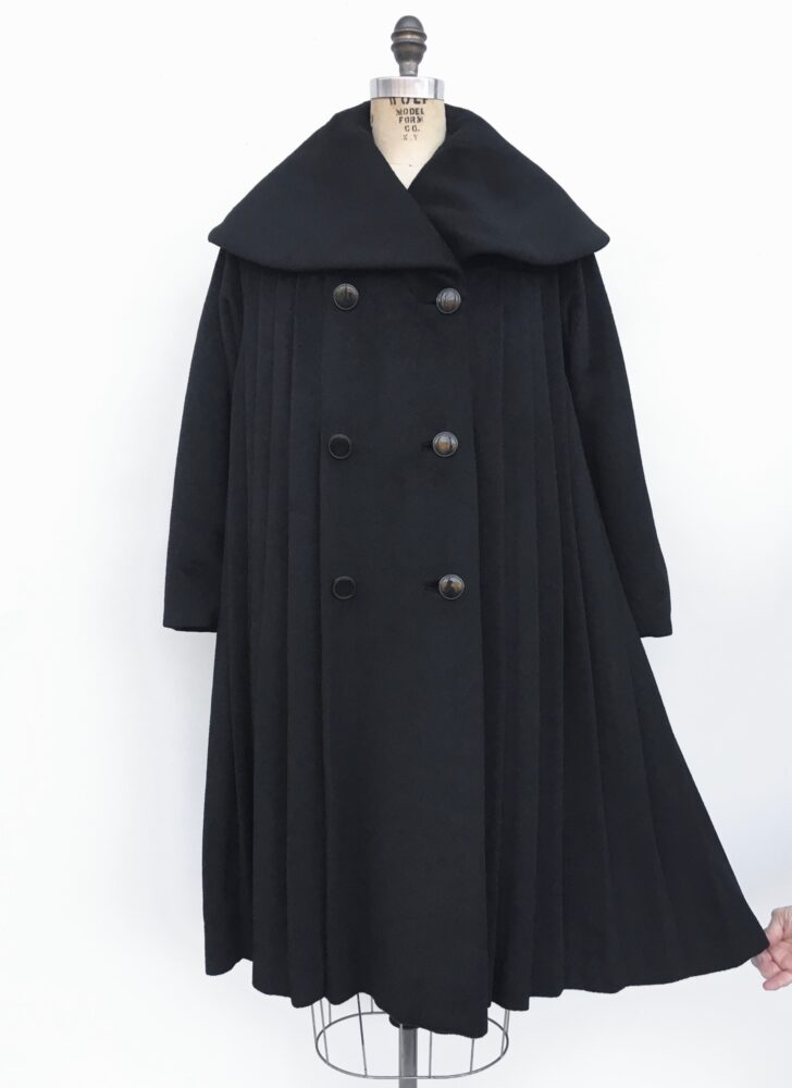 1950s 60s Lilli Ann black mohair eyelash wool pleated swing coat