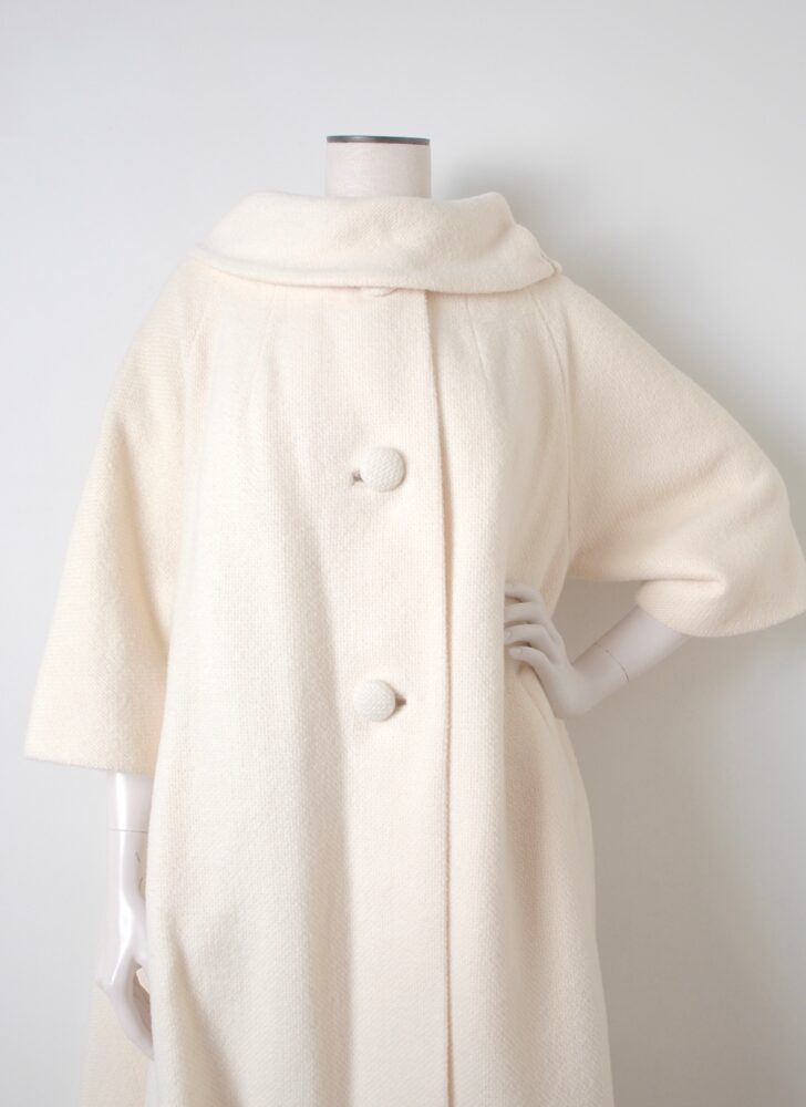 1950s 60s Lilli Ann cream white wool swing coat