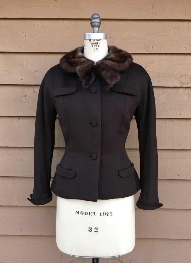 1950s Dan Millstein Blin + Blin brown wool blend jacket with a mink bow collar