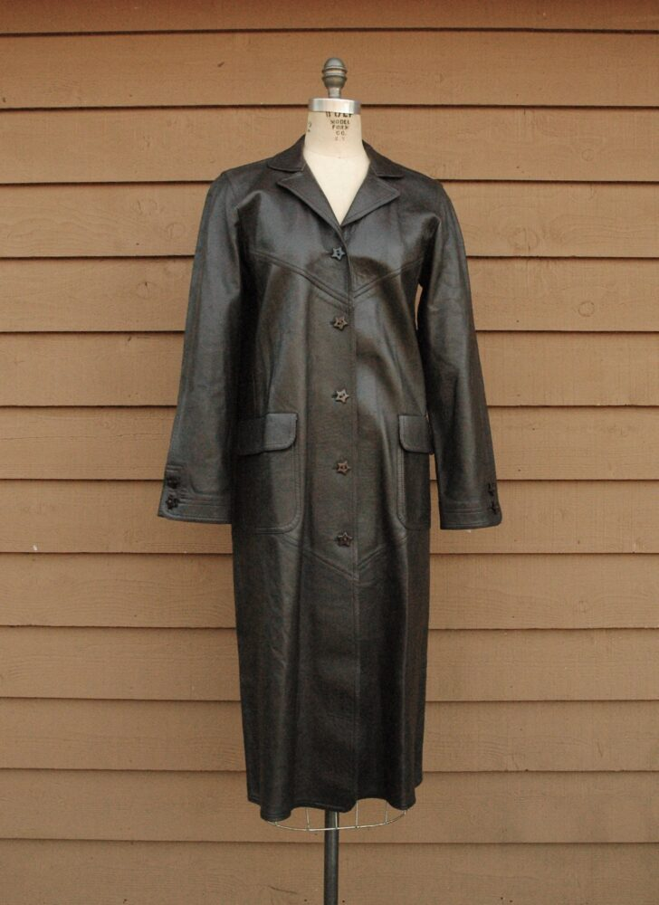 vintage Jean Muir brown leather coat with star buttons