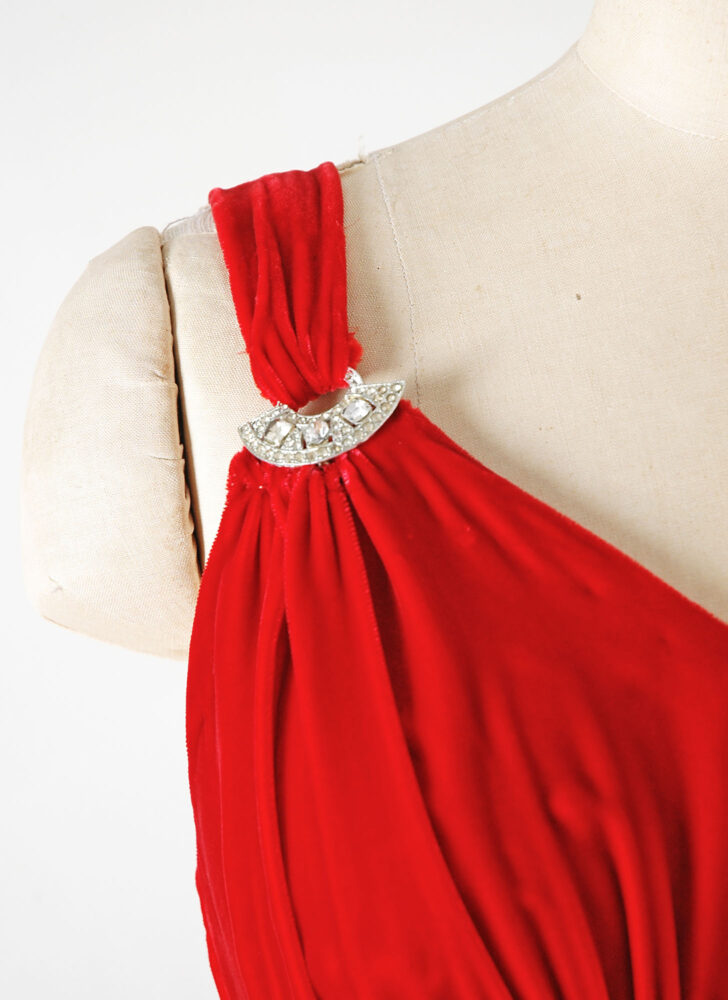 1930s 40s red silk velvet evening gown with rhinestones (repair)