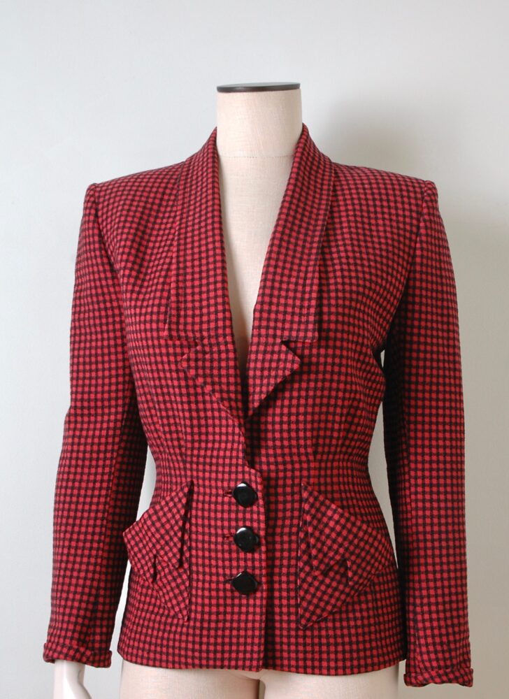 1940s red + black check House of Erdrich wool jacket
