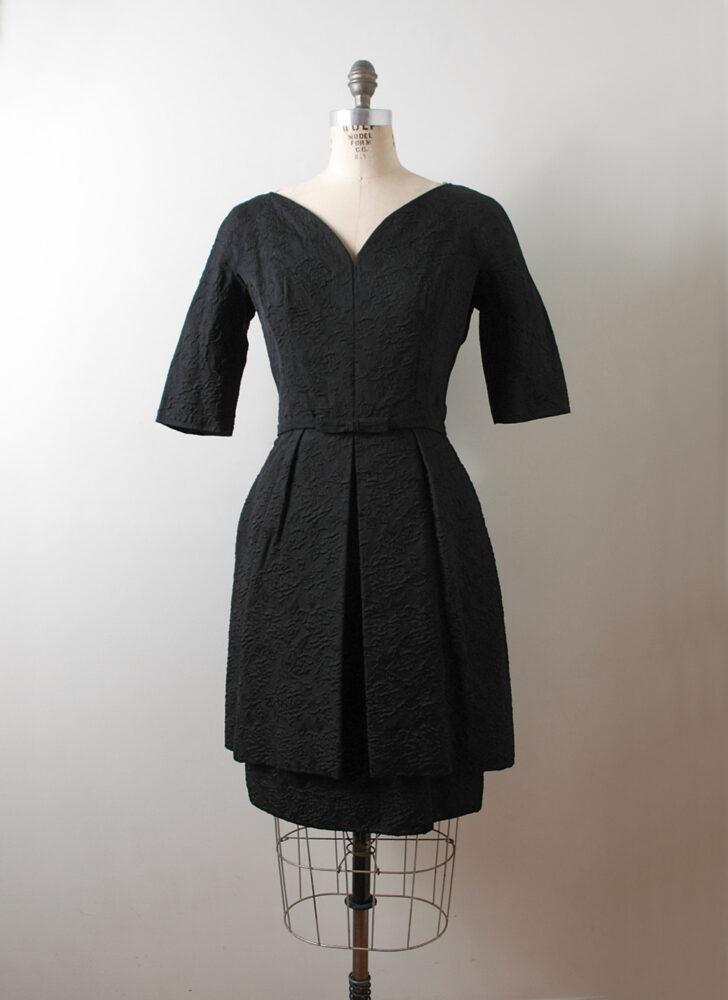 1950s 60s Hannah Troy black sweetheart neckline cocktail dress