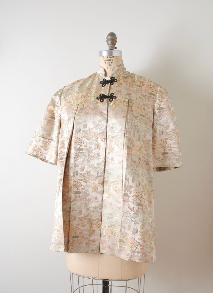 1950s Mandarin collar Chinese satin brocade smock jacket