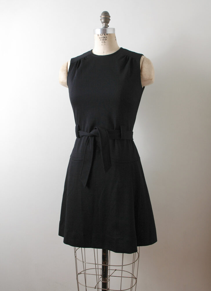 1960s black knit wool Lord + Taylor dress