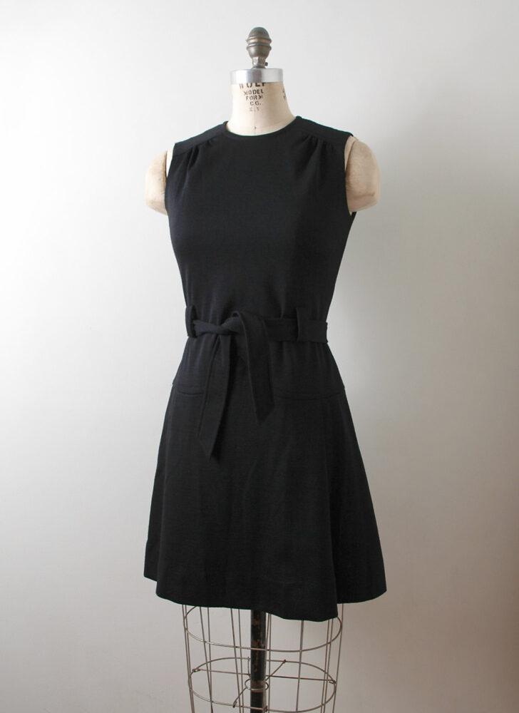 1960s black knit wool Lord + Taylor dress