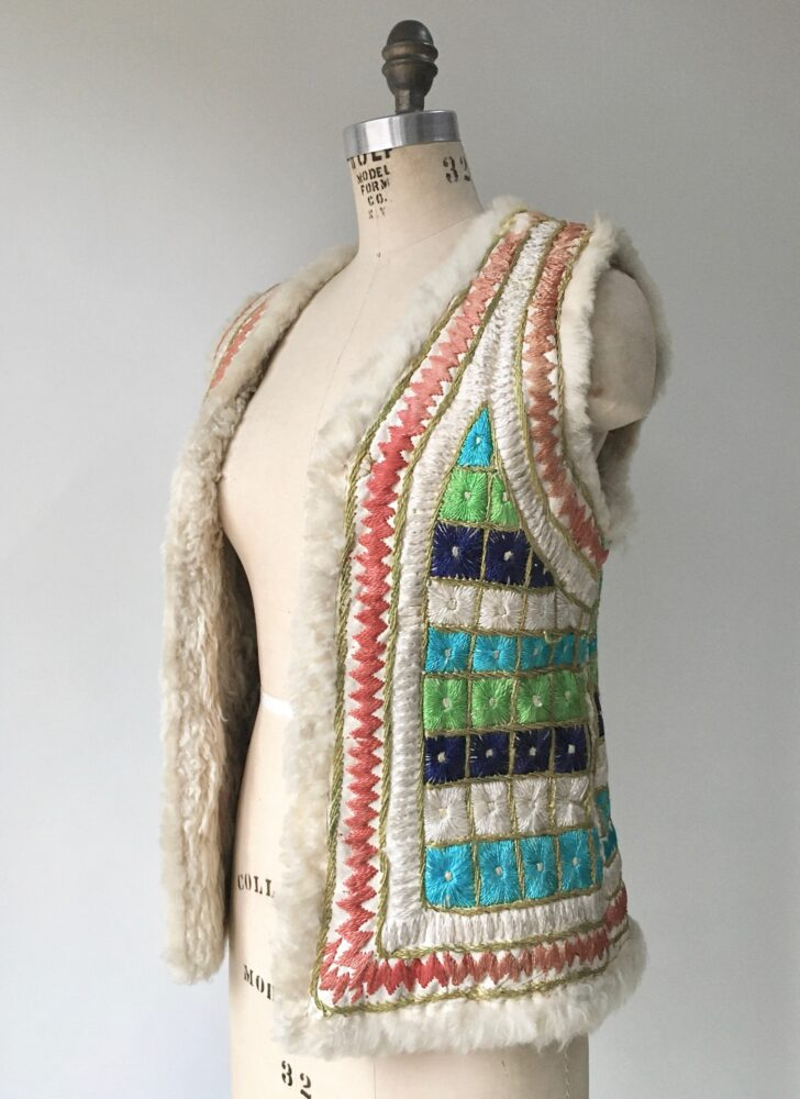 1960s colorful embroidered Afghani shearling sheepskin vest