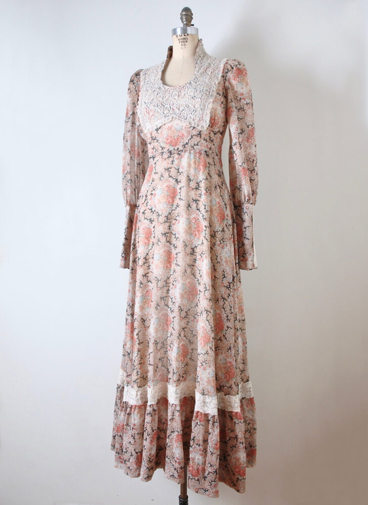 1970s Gunne Sax black label lace + floral maxi dress