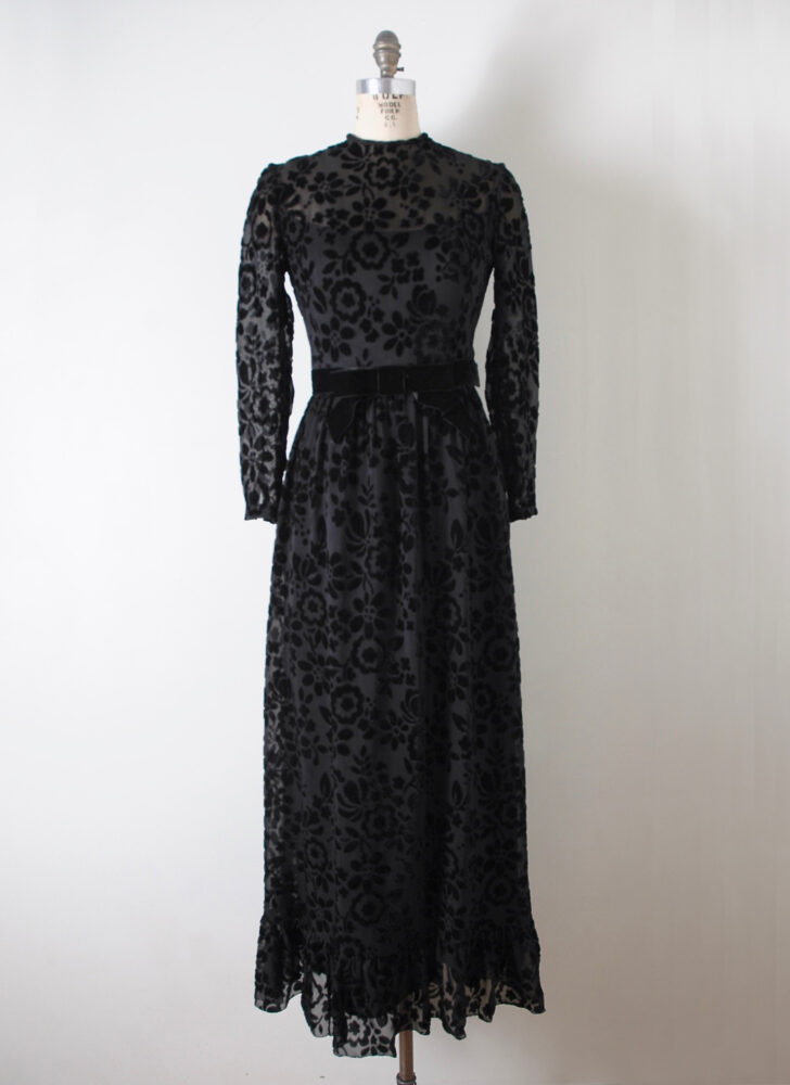 1970s black burnout floral velvet maxi dress Switzerland