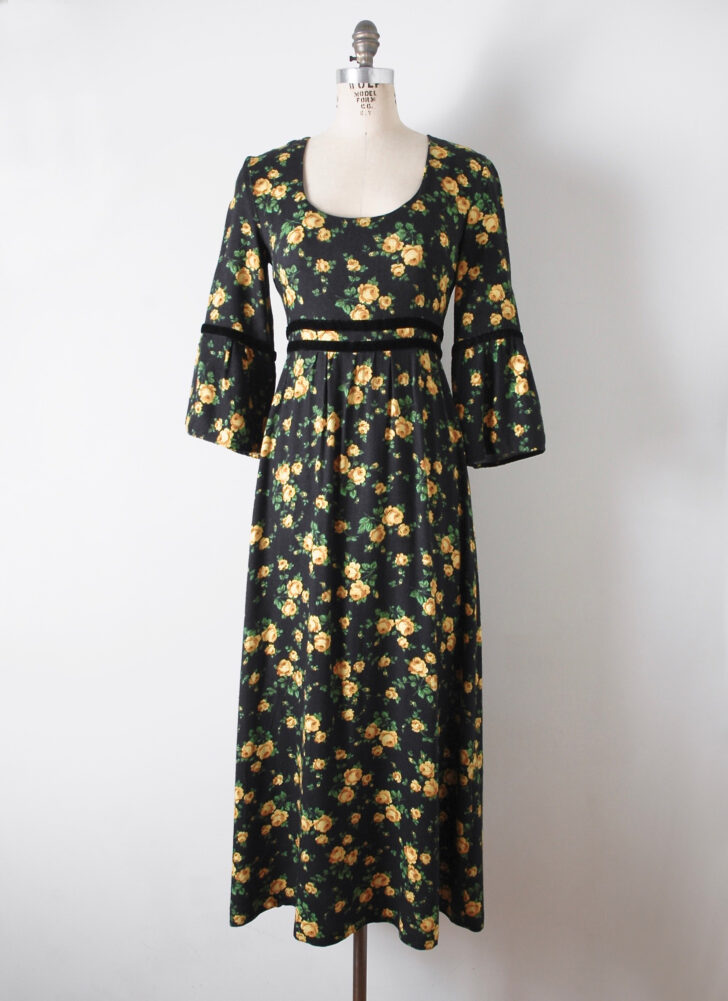 1970s black floral flannel + velvet peasant maxi dress
