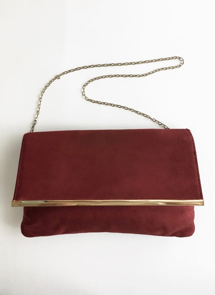 1970s red suede HL chain strap purse handbag to clutch