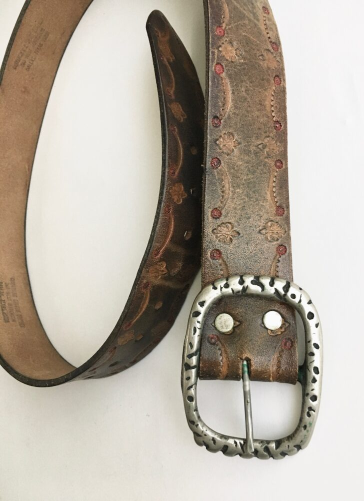 1970s tooled leather belt LC Boyd Dallas TX