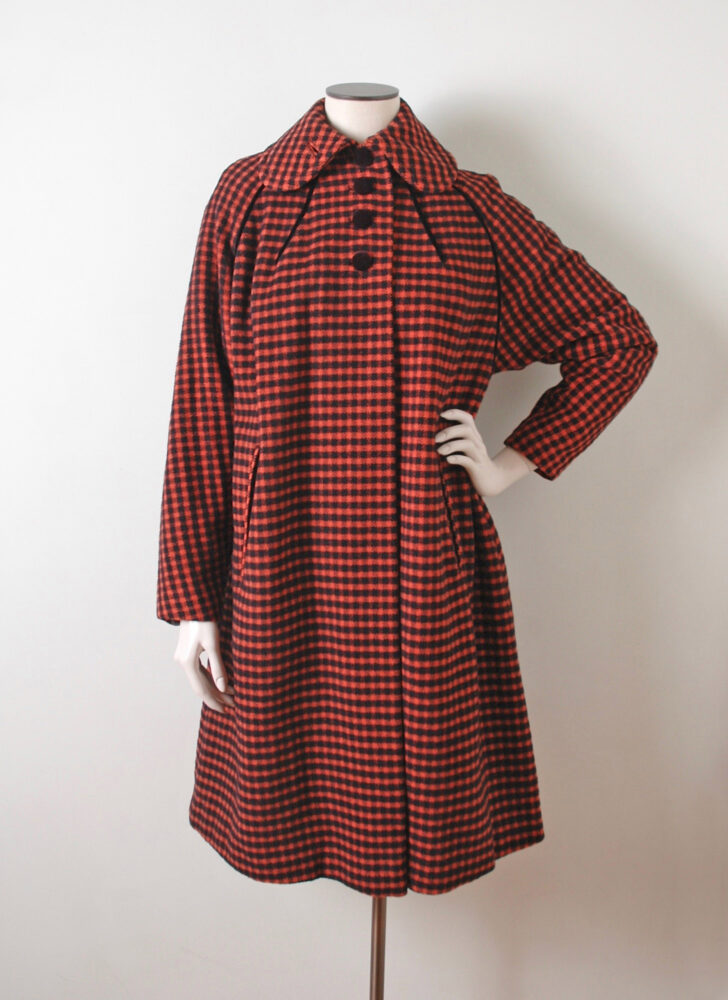 50s red + black houndstooth wool velvet coat Milgrim Forstmann Seymour Fox