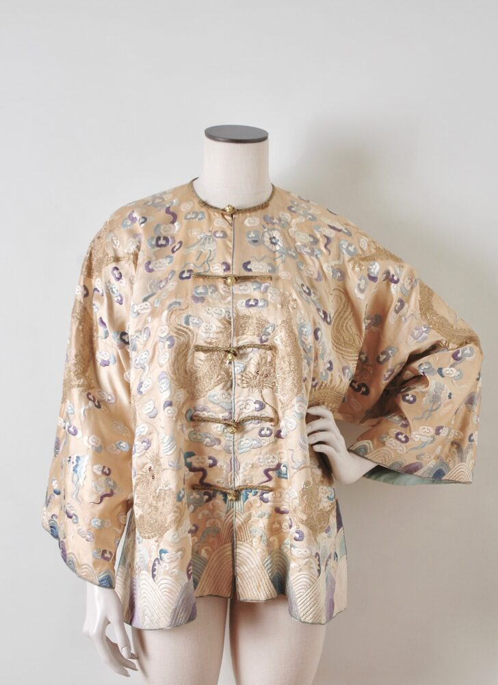 unique antique Chinese silk jacket with embroidered dragons