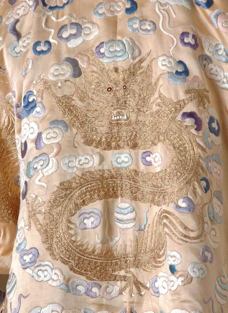 Auction: unique antique Chinese silk jacket with embroidered dragons