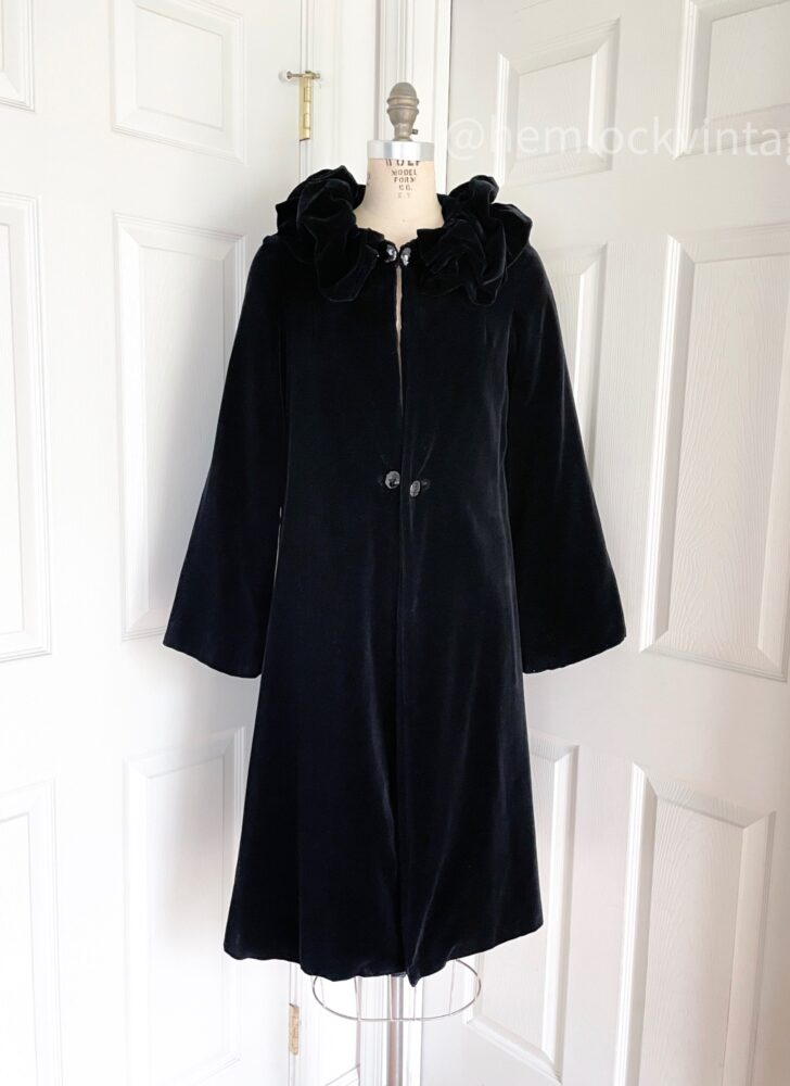 1930s black velvet ruffled collar opera coat