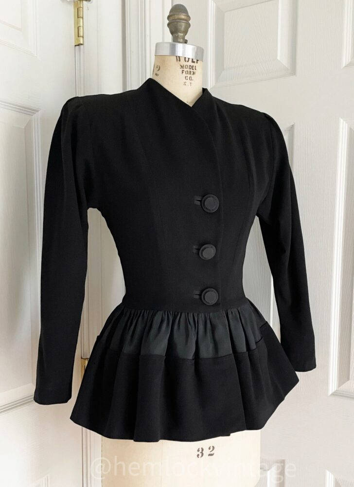 1940s black wool crepe peplum waste jacket (moth damage)