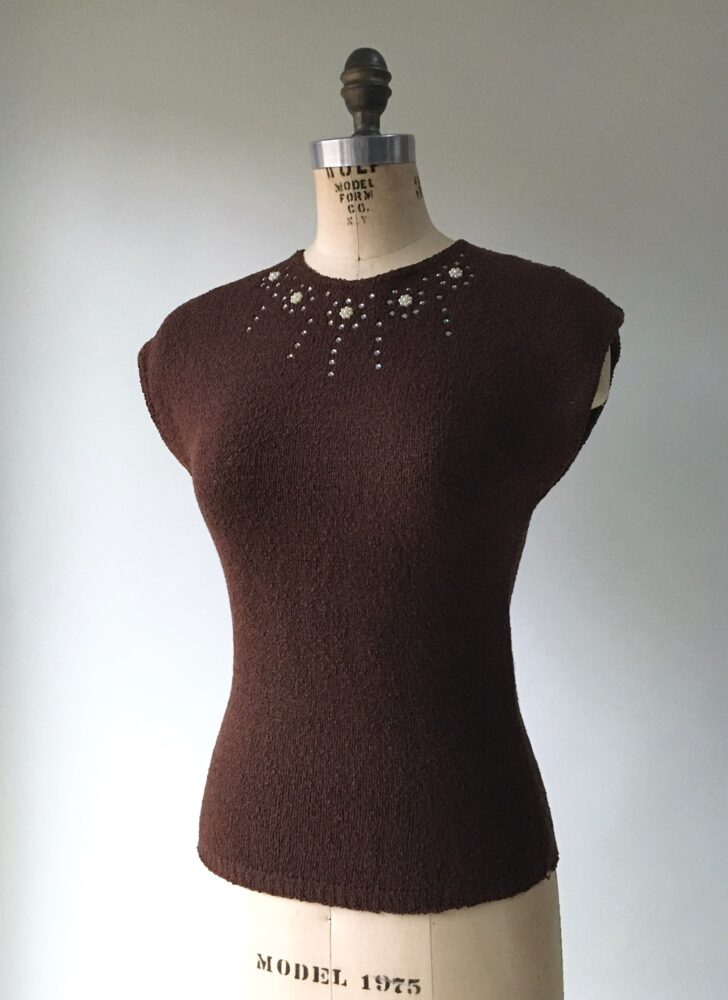 1940s brown knit rhinestone + pearls sweater top
