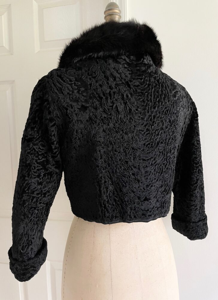 1950s real Persian lamb mink collar cropped jacket