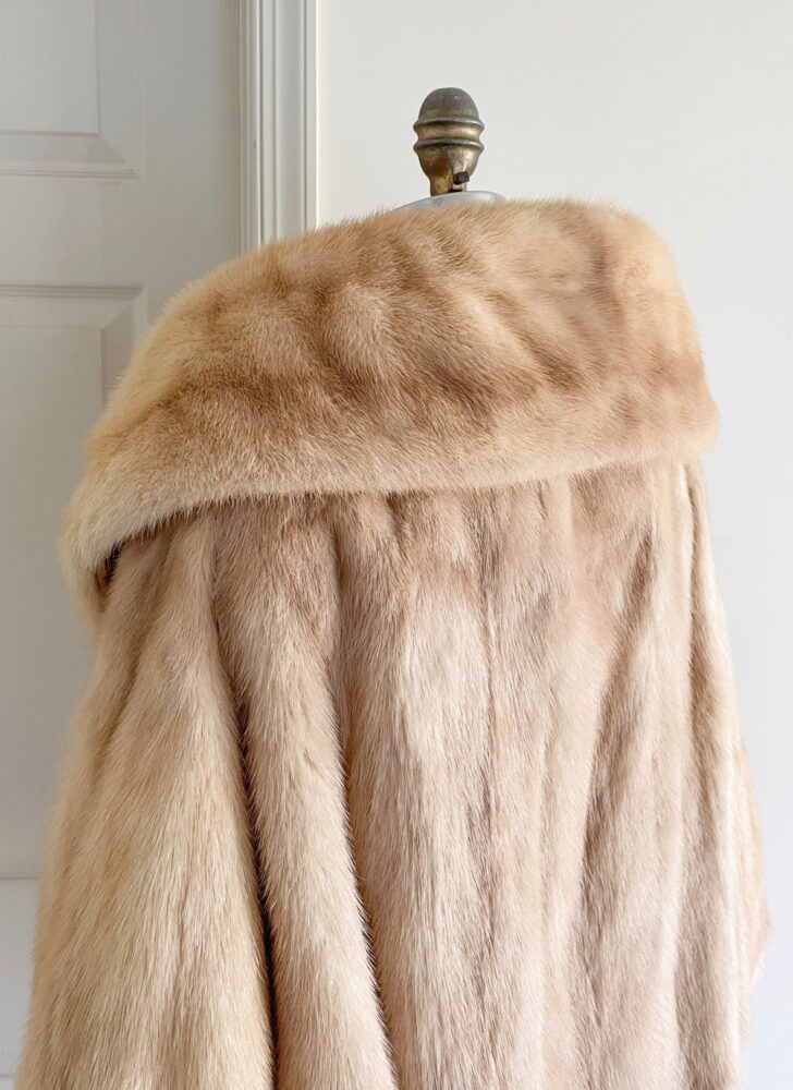 1950s blonde palomino mink fur standup cape collar jacket