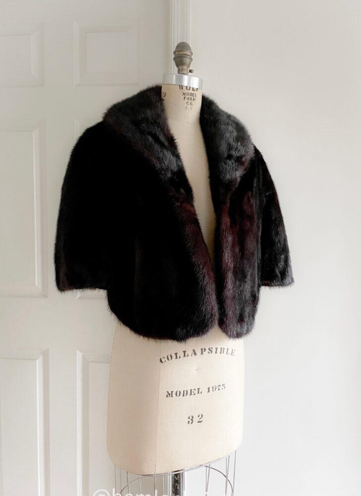 vintage dark auburn mink jacket shrug cape wrap