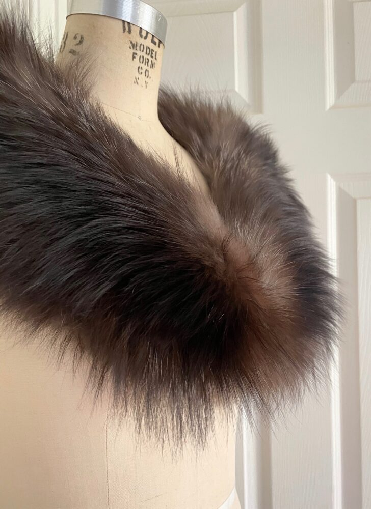 vintage silver fox fur wrap shrug stole