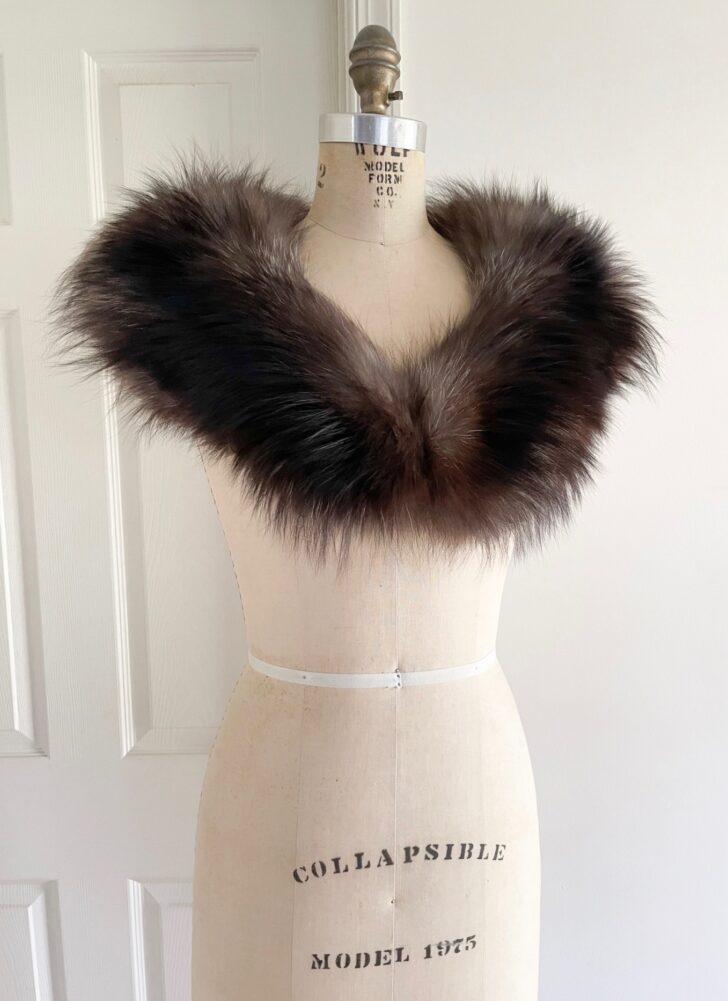 vintage silver fox fur wrap shrug stole
