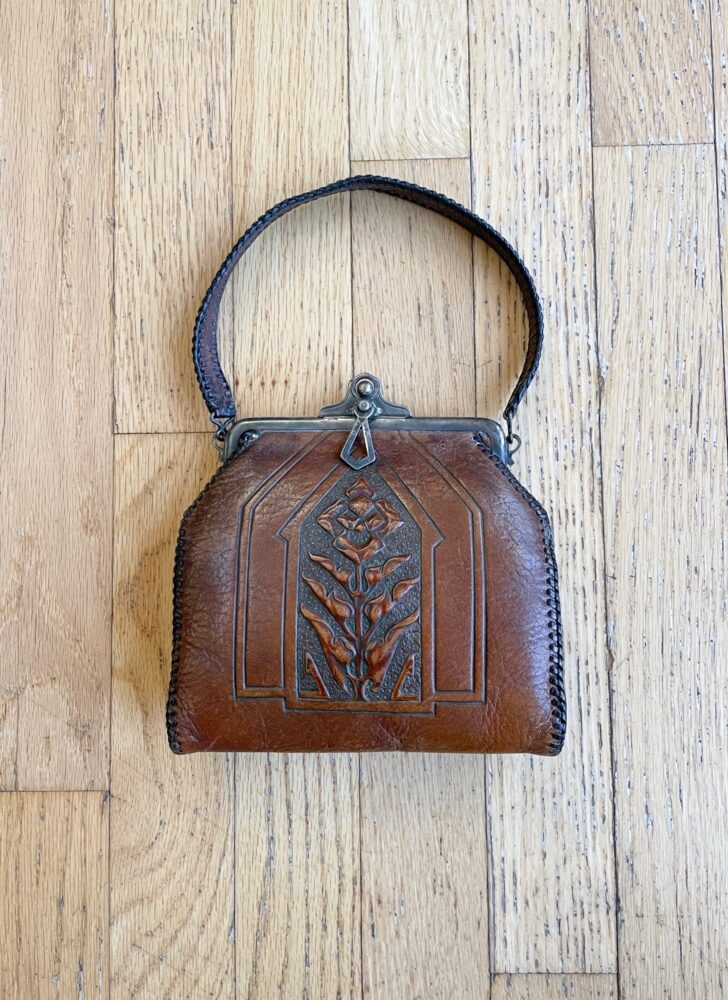 1920s 30s Arts + Crafts Nouveau tooled leather purse