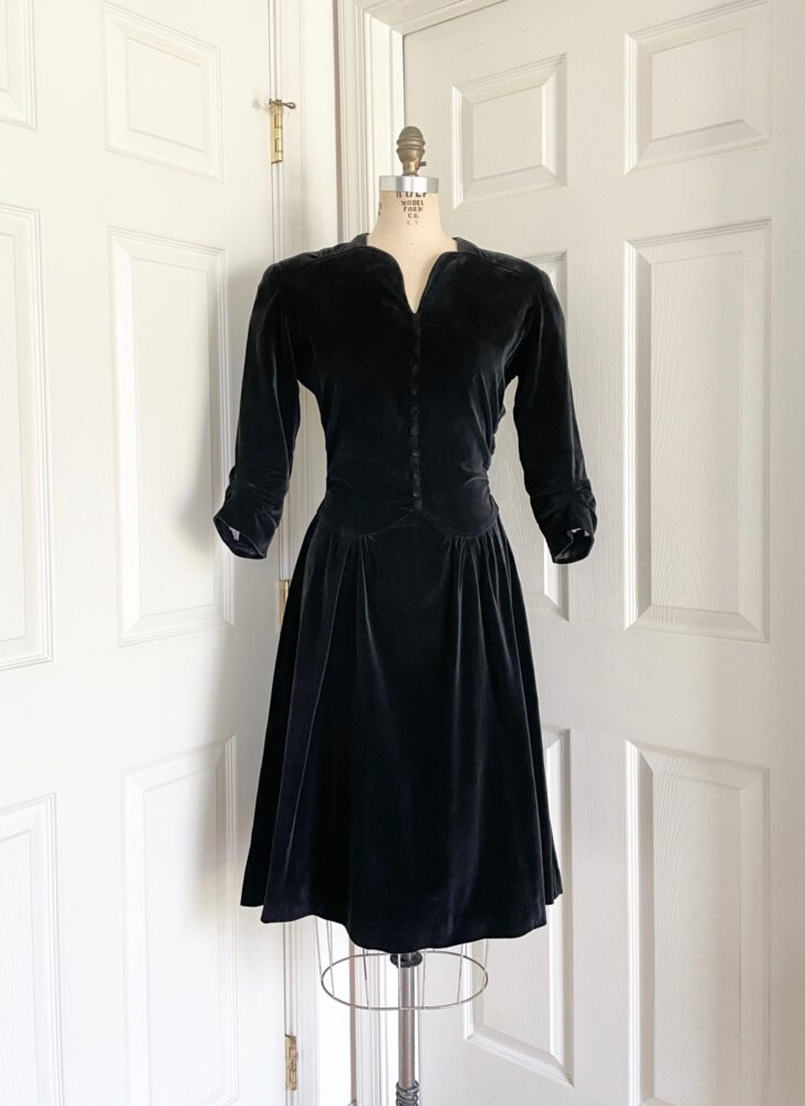 1930s 40s black velvet button dress