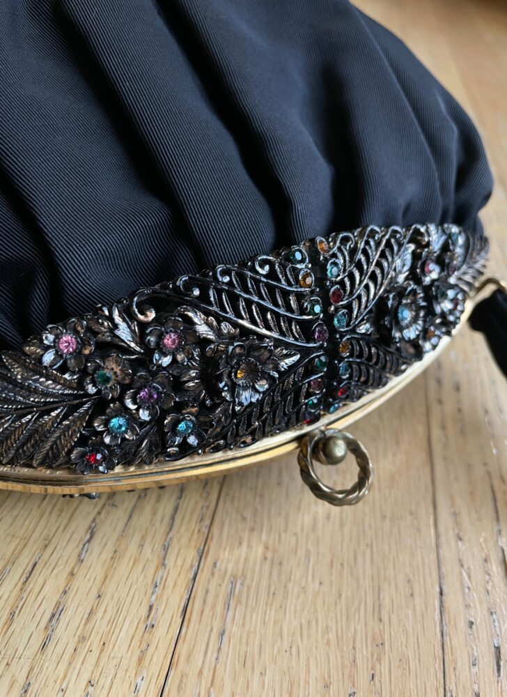 1940s 50s Guild Original jeweled black faille purse