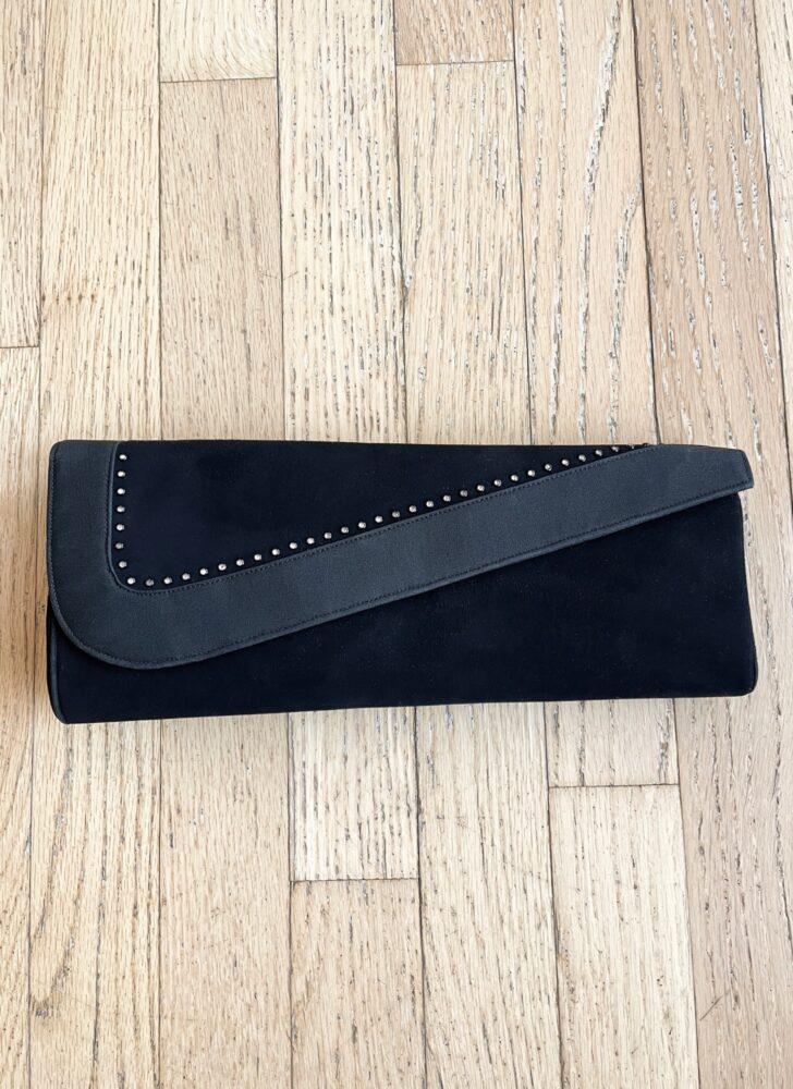 1940s 50s asymmetrical black suede + rhinestones clutch Manon