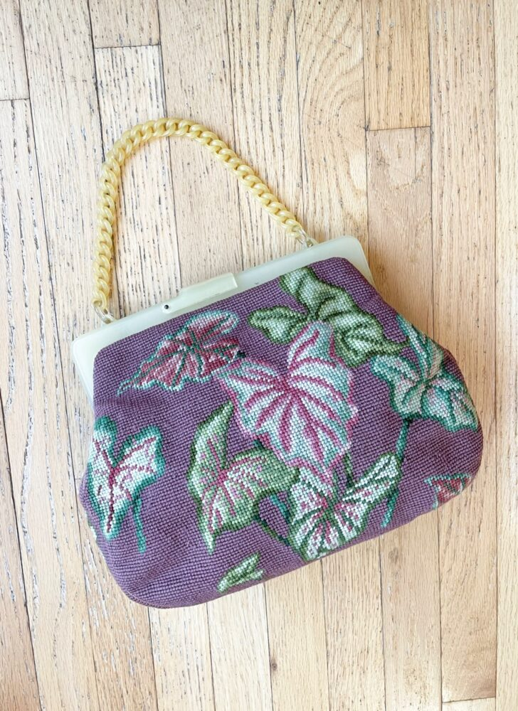 1940s Christine purple leaves needlepoint Bakelite purse