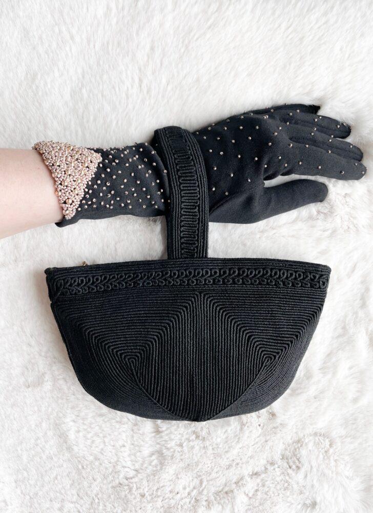 1940s black corde basket rounded purse bag