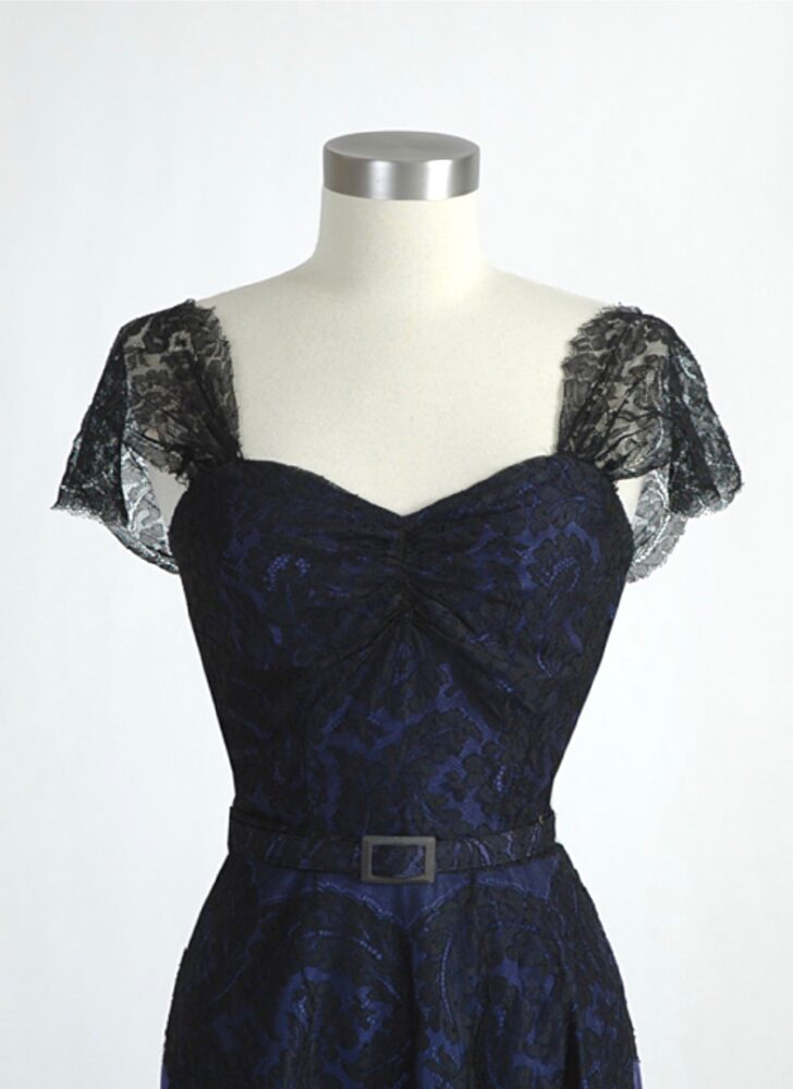 1940s black lace + blue taffeta gown (repairs/fade)