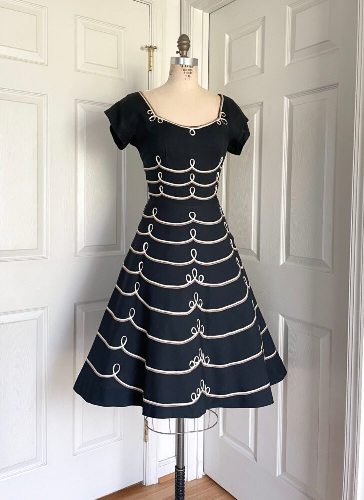 1950s Bernetti black linen bicolor soutache loop dress
