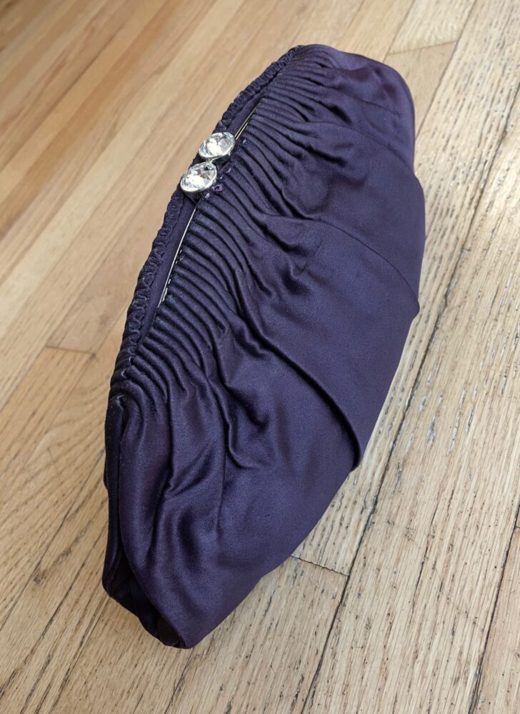 1950s Nettie Rosenstein purple satin rhinestone clasp clutch