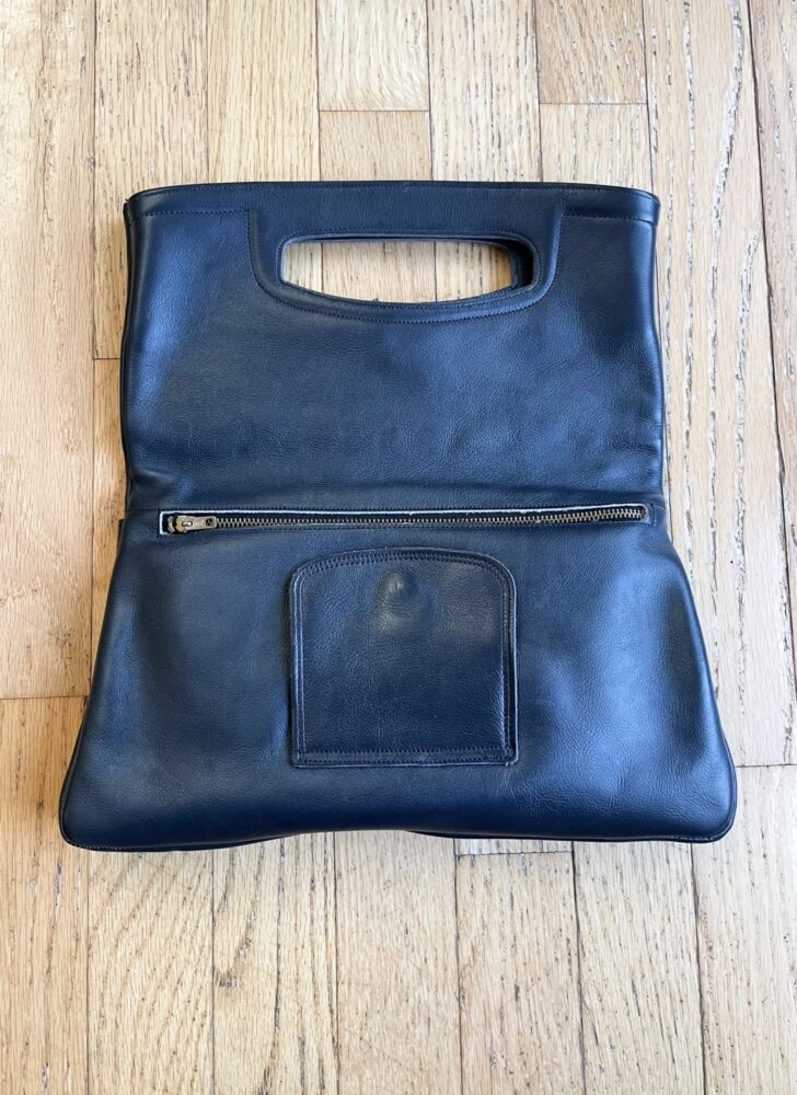1960s 70s blue faux leather convertible tote + clutch