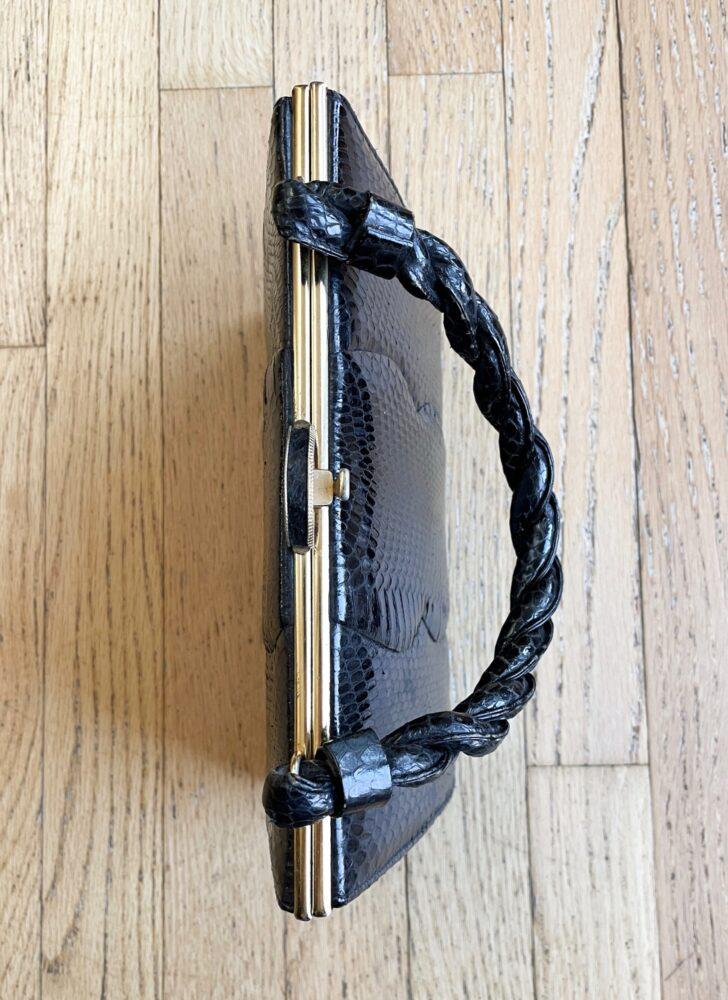 1960s Elbief England black snakeskin purse handbag