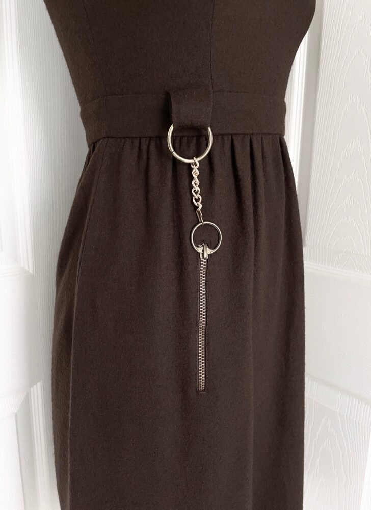 1960s brown wool dress with chain zipper pocket