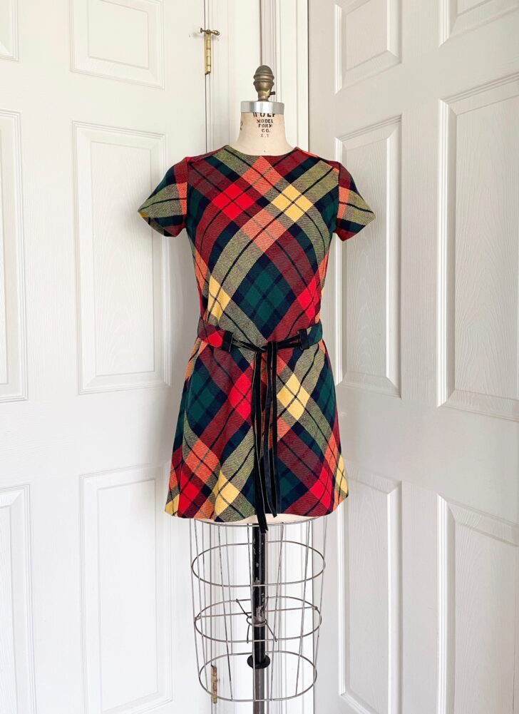 1960s plaid mini dress with matching purse + belt