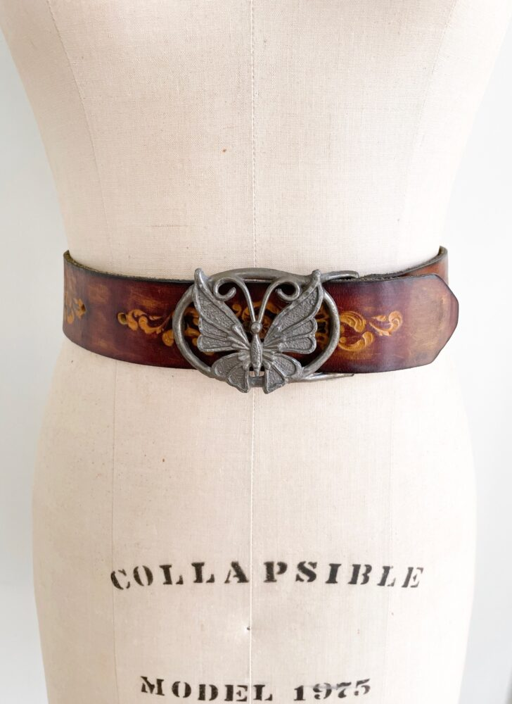 1970s butterfly buckle tooled leather belt