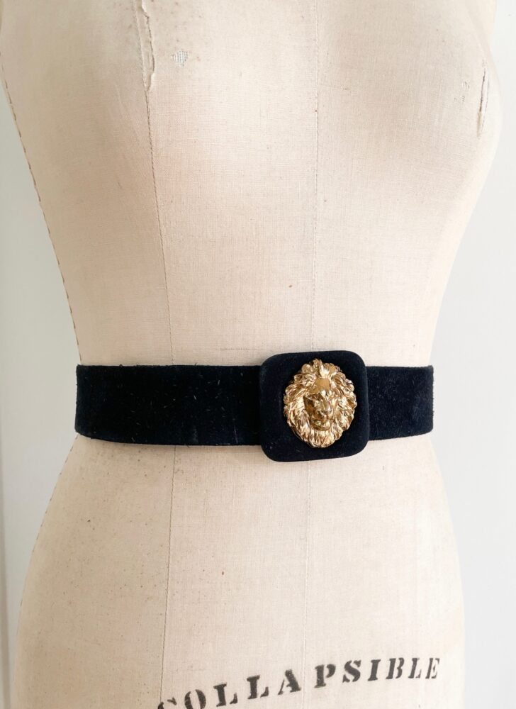 1980s 90s Anne Klein gold lion head black suede belt