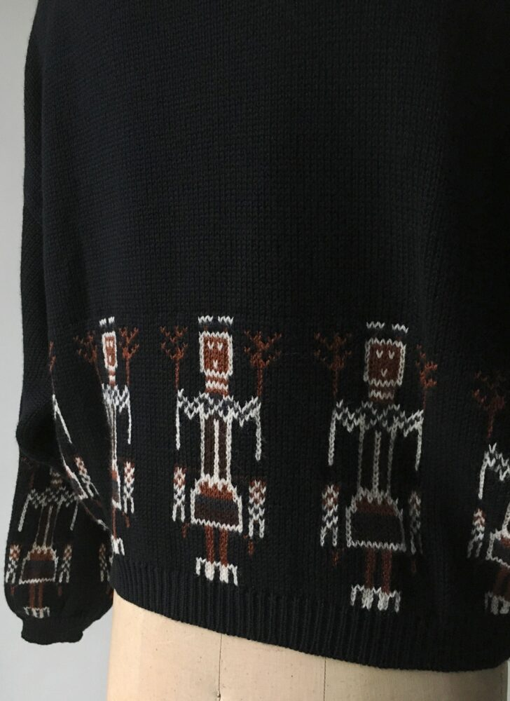 1980s Benetton black knit oversized cropped sweater stick figures