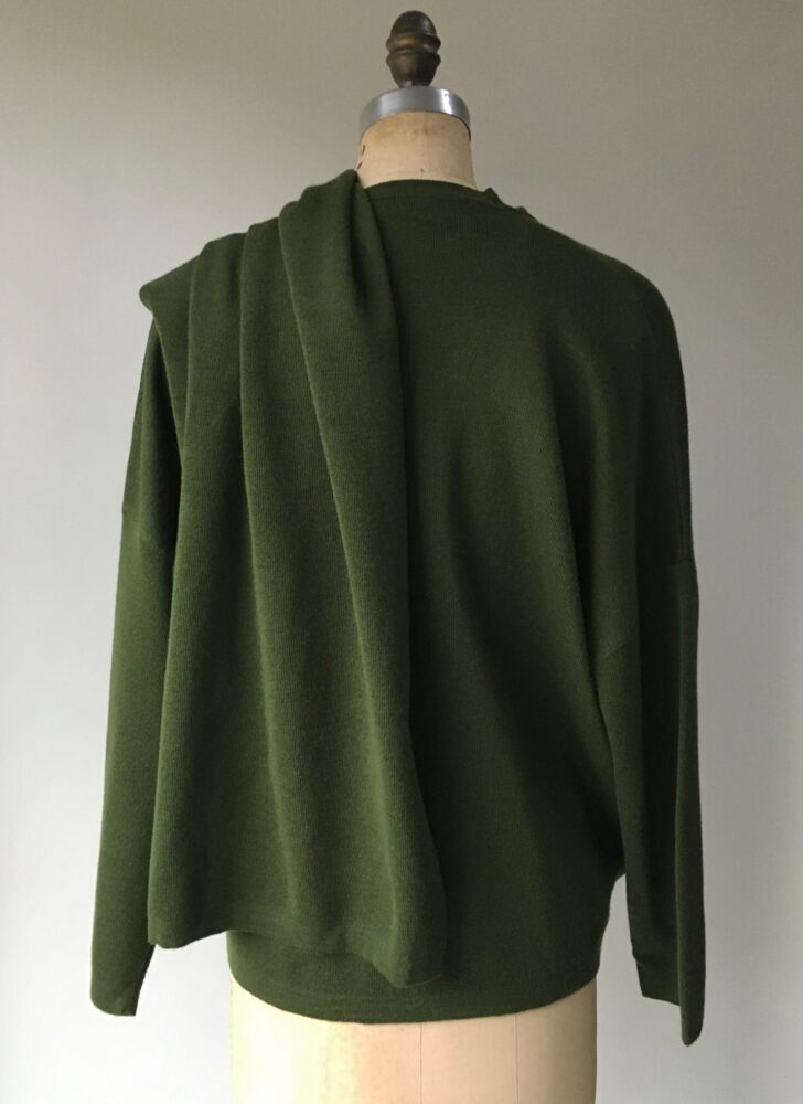 1980s benetton olive green oversized wrap sweater
