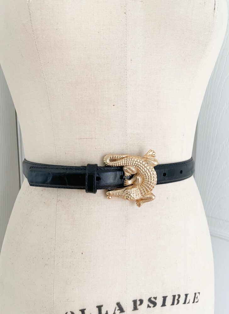 1980s gold brass alligator buckle black leather belt